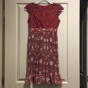 Tracey Reese Red Cap Sleeve Floral Dress size 0P